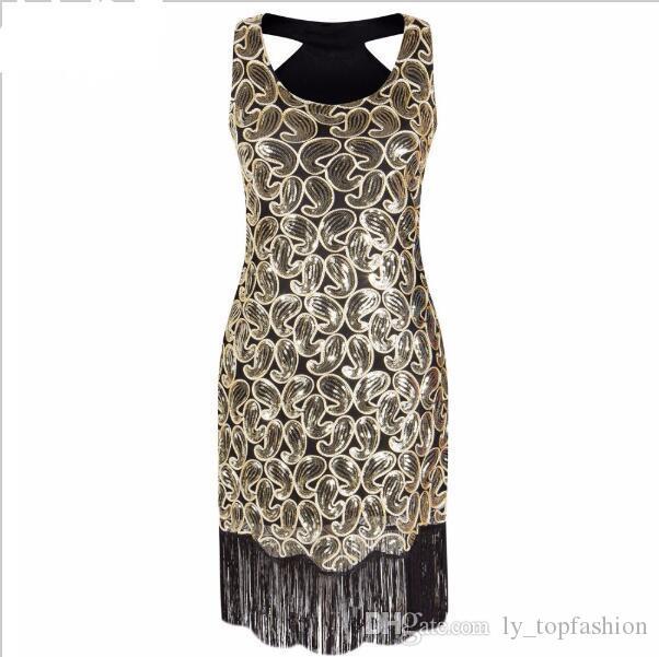 Женская 1920-х блесток Пейсли Pattern гонщик обратно заслонки черное золото платье Сексуальная бахрома Великий Гэтсби платье партии Vestido де Фиеста