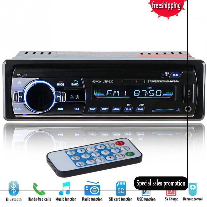 2019 HOT 12V 블루투스 자동차 스테레오 FM 라디오 MP3 오디오 플레이어 5V 충전기 USB SD AUX 자동으로 전자 서브 우퍼 인 - 대시 1 DIN Autoradio