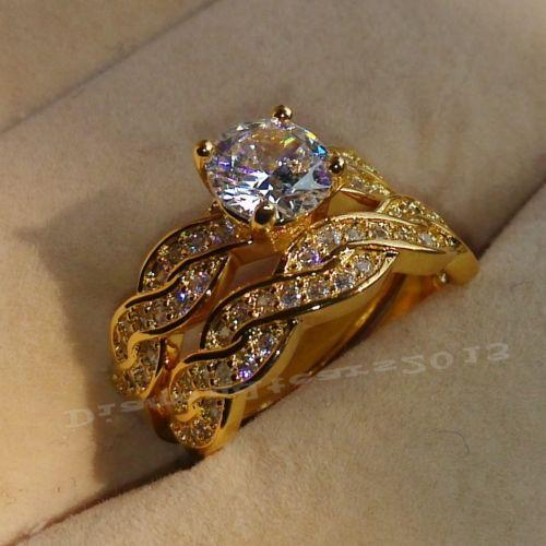 حجم الفاخرة 6/7/8 مجوهرات 18 ك الذهب الأصفر معبأ جولة قص توباز هدية خاتم الزواج