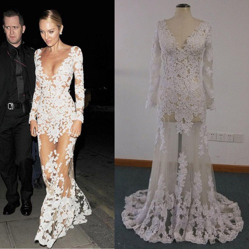 Vestidos de celebridades Imágenes reales Sheer candice swanepoel Apliques de encaje marfil sobre ilusión Vestidos de noche de manga larga de tul desnuda