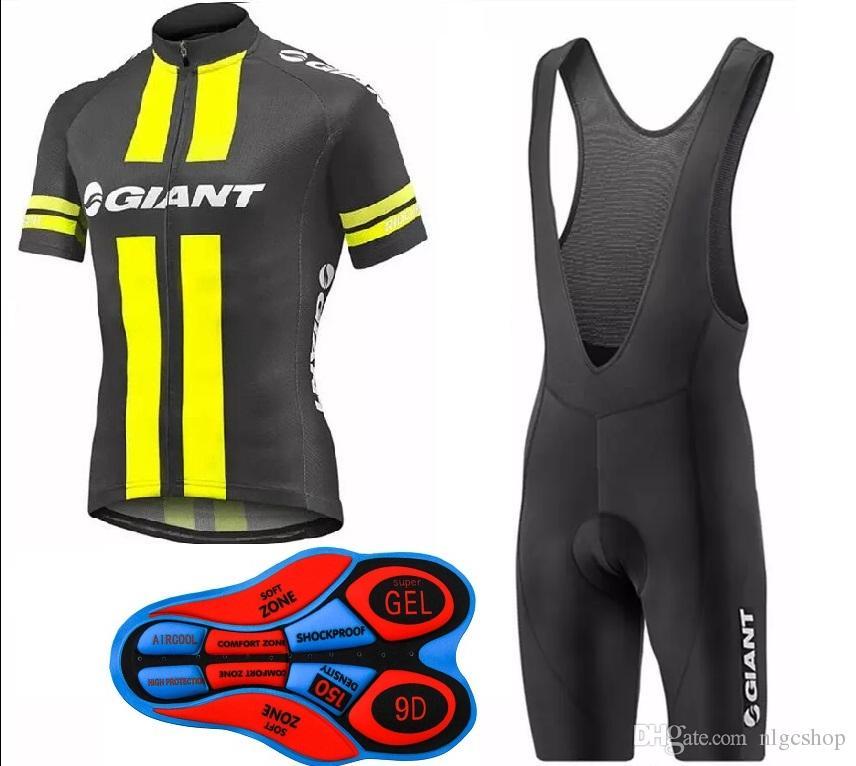 2017 Giant New Cycling jersey + bib shorts set uomo Fluo giallo e nero Bicicletta traspirante abbigliamento sportivo ciclismo jersey Abbigliamento bici estate
