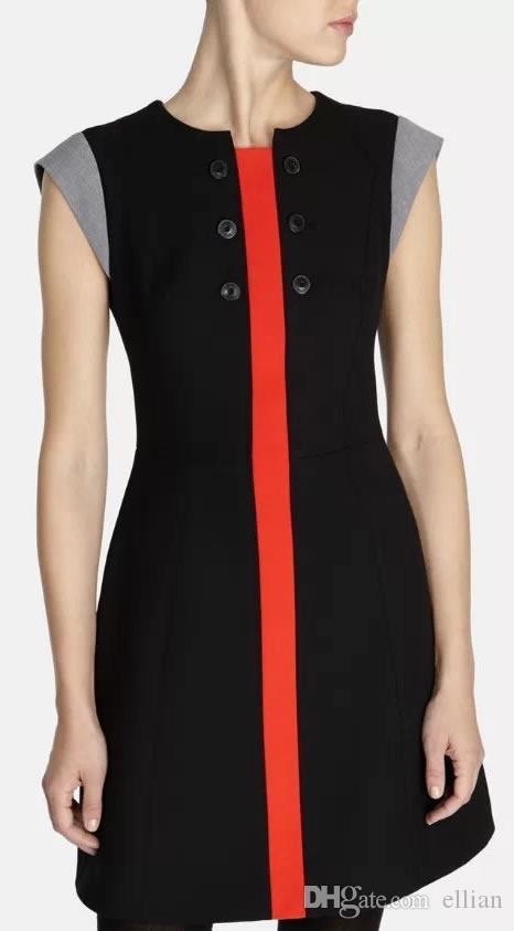 Moda 60's Inspired Dress Nowość Kolor Block Przyciski Zdobienie Mini Casual Dresses DT241