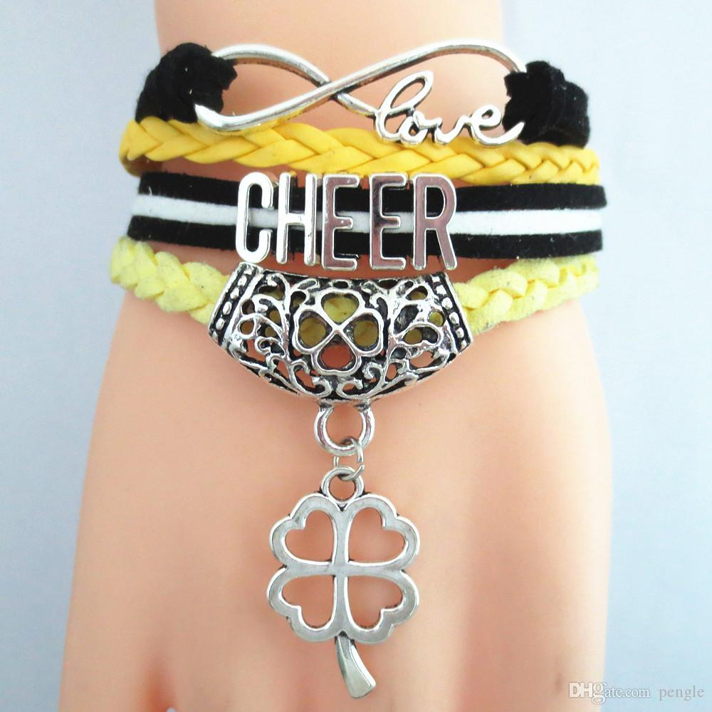 New Fashion Bracelets CHEER Jewelry Bracelet Hot Multilayer Leather Charms Infinity Bracelets Bangles For Women Gift