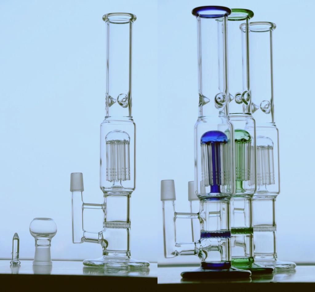 2020 Two Function Hookahs Oil Rigs Handblown Bongs Water Pipes Bubbler Oils Rigs Glass Bongs 34.5cm Glass Water Bong 3 Colors