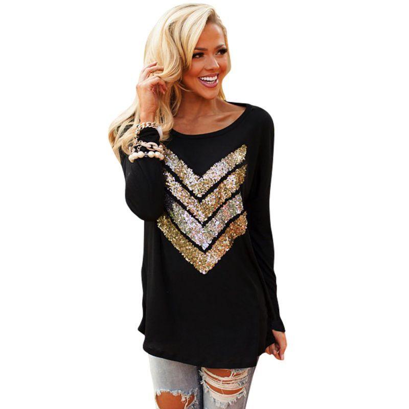 Осень блеск женщины блестки стрелка топы случайные свободные футболки верхняя одежда FG1511