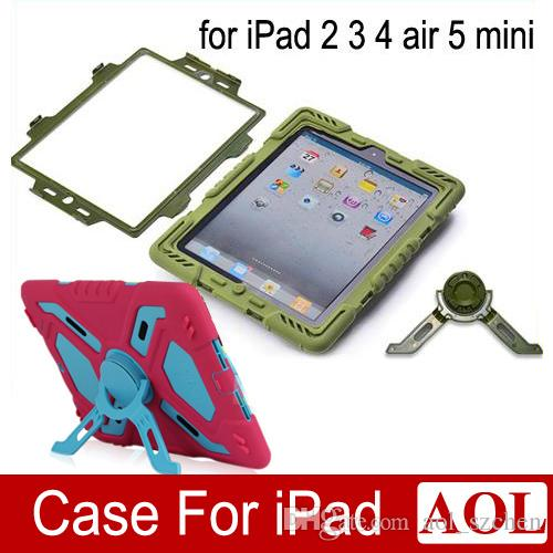 Pepkoo Defender Military Spider Stand Water dirt shock Proof Case Cover Plastic + Silicone for ipad 2 3 4 iPad Air 2 air iPad Mini Retina