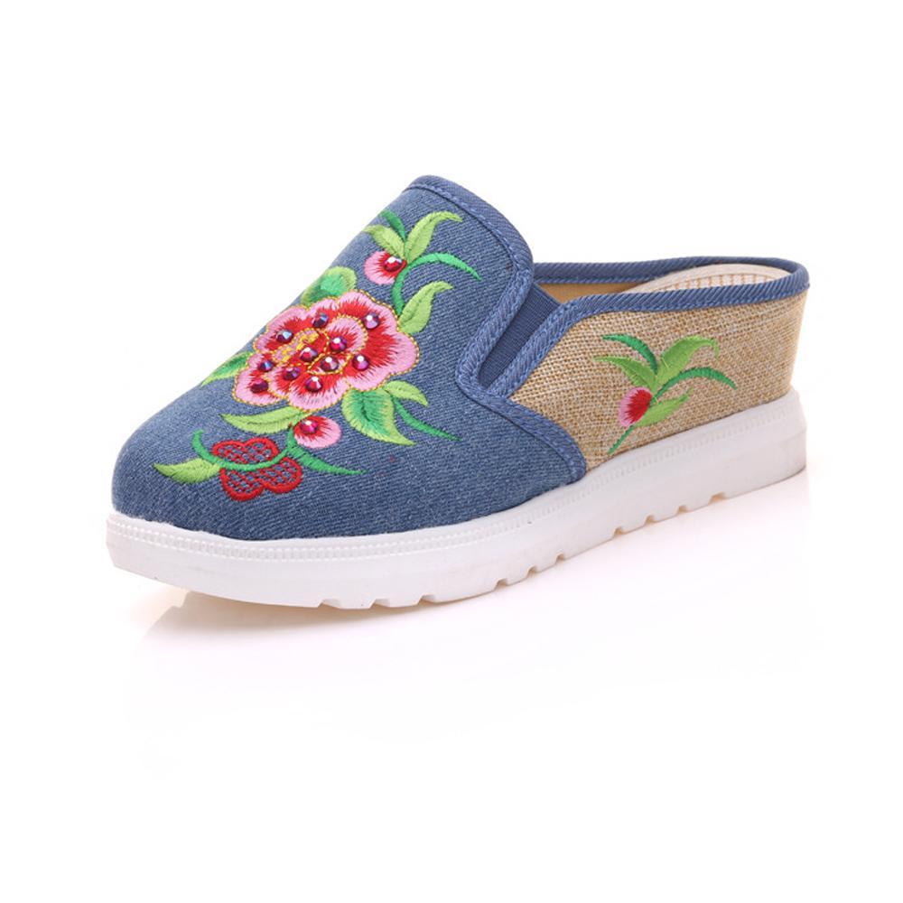 Cómodos Casual Zapatillas Vintage Feminino Zapatos Peonía Del Bordado Mujer Verano Chino Floral 43 Chinelo A24 Compre Sandalias Primavera mOv0wN8n