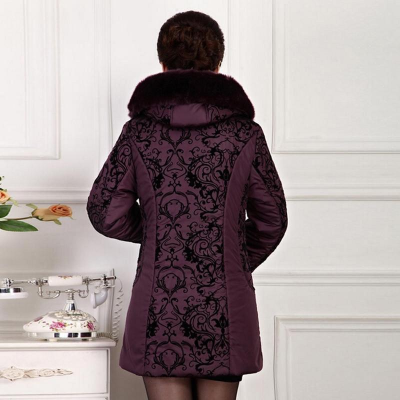 Vendita all'ingrosso-plus size addensa giacca invernale donna 2015 donne di mezza età abbigliamento in cotone imbottito pelliccia di inpulso calda madre donne cappotto cappotto