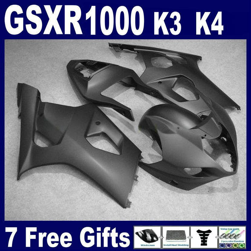 Todo el kit de carenado negro mate para Suzuki GSXR1000 2003 2004 K3 Kit de cuerpo nuevo GSXR 1000 03 04 Parabrisas gratis