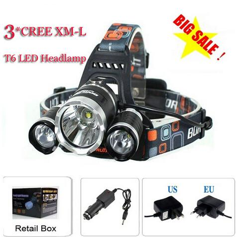 3T6 كشافات 6000 لومينز 3 × كري XM-L T6 رئيس مصباح عالية الطاقة الصمام كشافات رئيس الشعلة مصباح المصباح رئيس + شاحن + شاحن سيارة