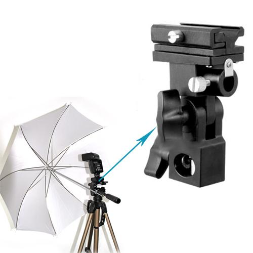 Flash Hot Shoe Mount Adapter Trigger Umbrella Holder Swivel Light Stand Bracket