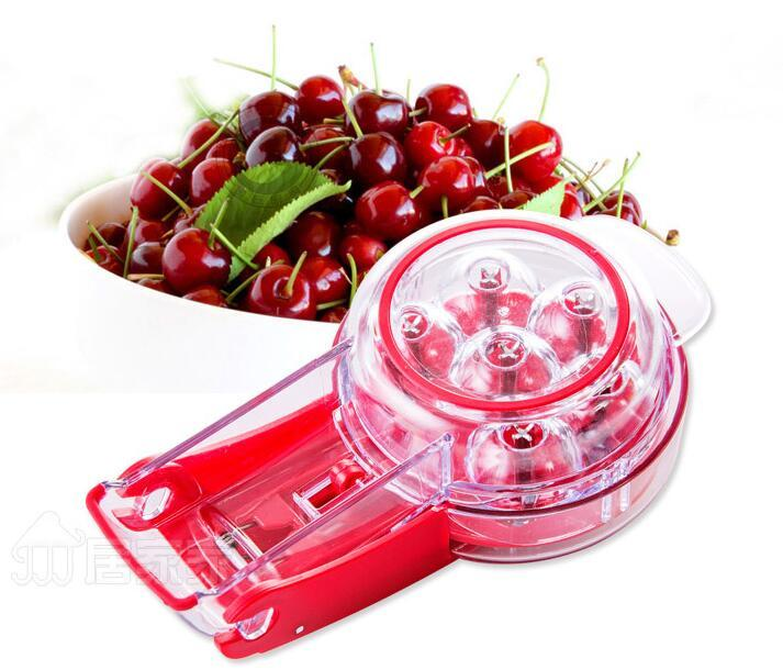 Prepworks Cherry Pitter - 6 개의 체리 Non-Skid 기반 단일 모션으로 6 개의 체리까지 피트