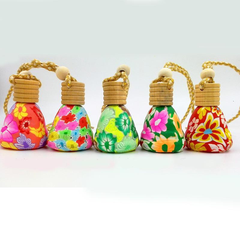 مثلث لون زهرة زجاجة عطر الخشب الأغطية الزجاجية العطر فارغة النفط قلادة إعادة الملء الرئيسية الديكور 10 قطعة / الوحدة DC876