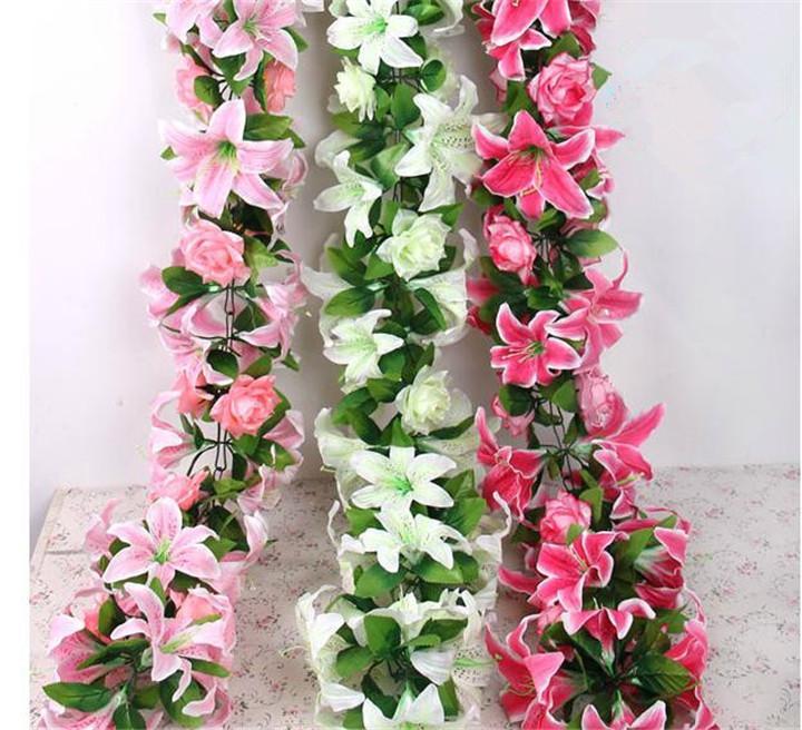 """실크 로즈 릴리 포도 나무 160cm / 62.99 """"길이 인공 꽃 장미 백합 등나무 꽃 지팡이 3 색 웨딩 센터 피스"""