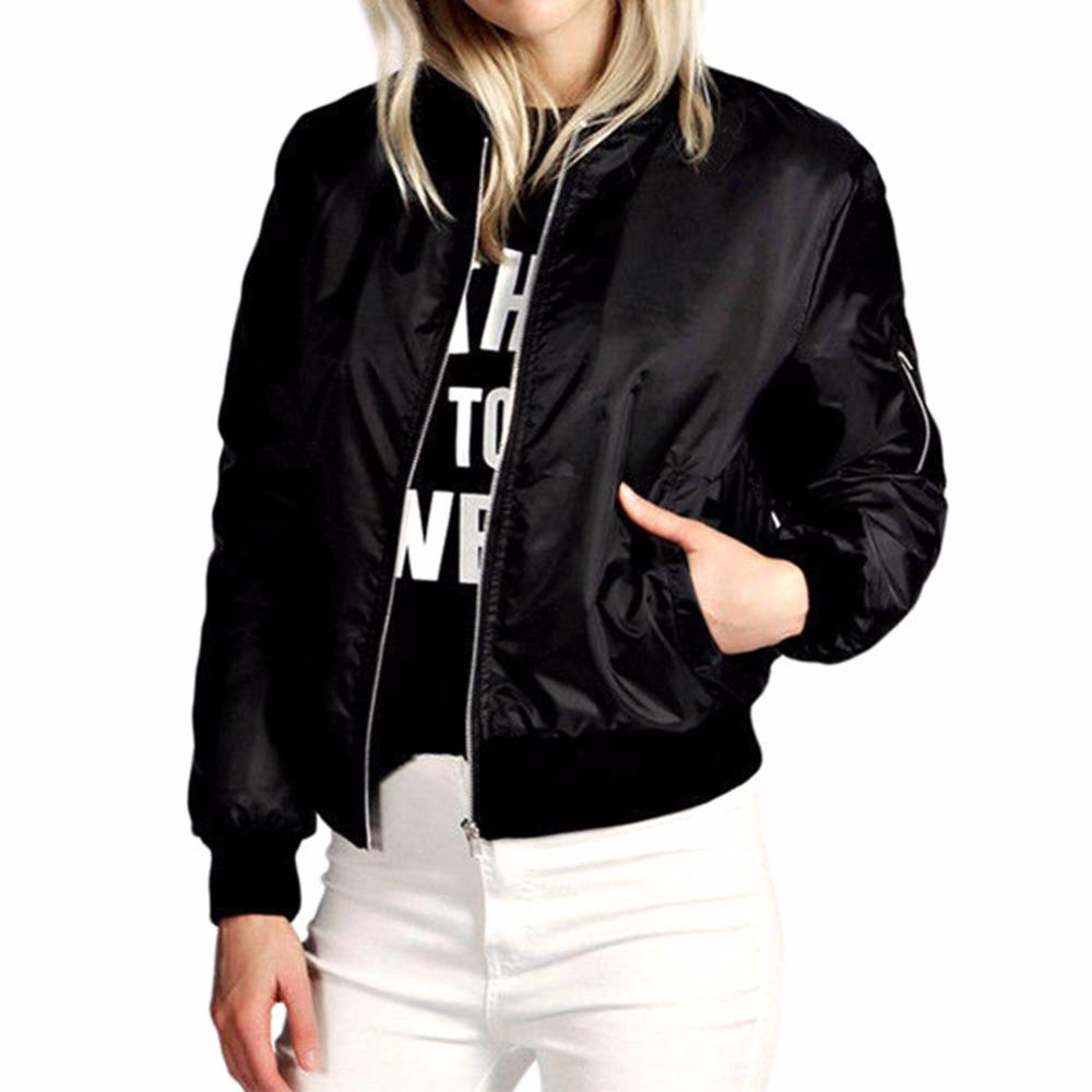 Atacado - senhoras senhoras clássico acolchoado jaqueta de bombardeiro zíper para cima motociclista casaco feminino casacos básicos preto exército vermelho casaco feminino