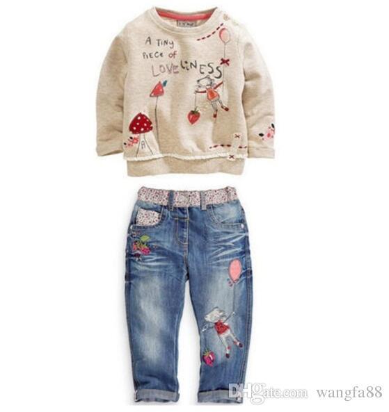 Yeni Ücretsiz kargo bahar moda Toddlers Çocuk Kız Giyim Kazak + Kot suit Karikatür Kıyafetler Giysileri