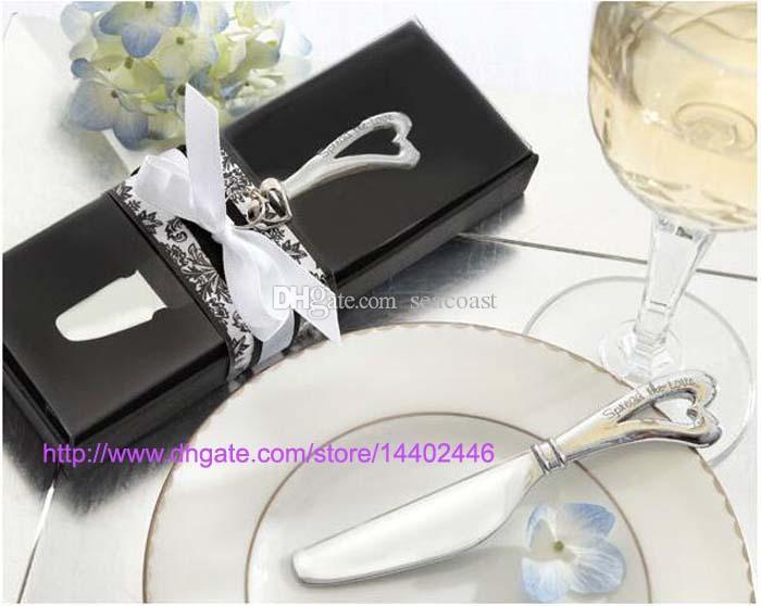 100 unids Spread The Love Chrome en forma de corazón en forma de corazón Spreaders Spreader Cuchillos de mantequilla Cuchillo Favores de regalos de boda