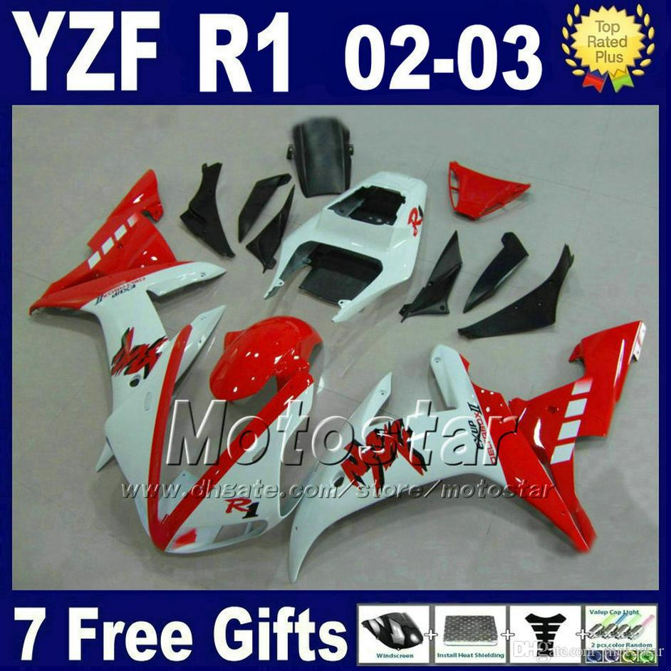 Juego de carenados de inyección para Yamaha 2002 2003 YZF R1 partes de la bicicleta de calle blancas rojas carrocería 02 03 kits de carenado r1 R13RW
