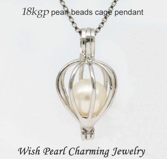 18KGP Heart Drop forma perla / cristallo / pietra gemma perline gabbia medaglioni, amore desiderio ciondolo per fai da te moda gioielli ciondoli