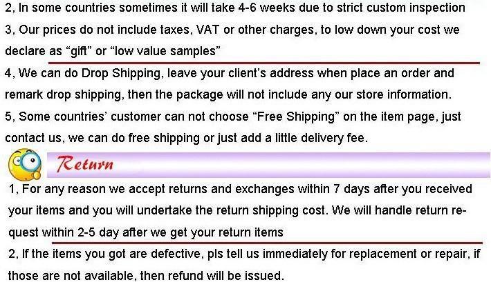 shipment & return