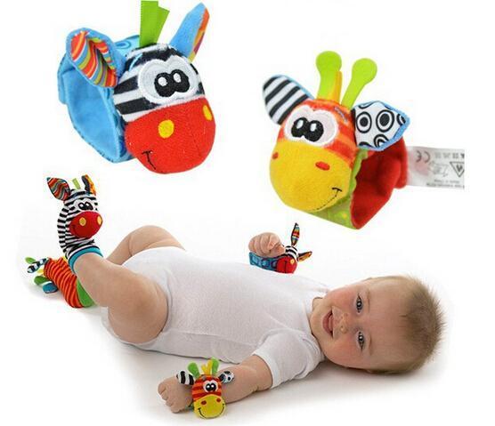 hot New Lamaze Style Sozzy animal rattle Wrist donkey Zebra Wrist Rattle and Socks baby toys (1set=2 pcs wrist+2 pcs socks)
