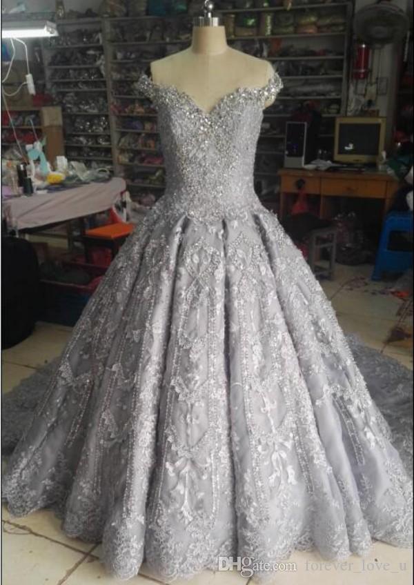 Compre Vestido De Novia De Plata De Lujo Vestido De Bola Fuera Del Hombro Perlas Cristales Lentejuelas Apliques De Encaje Vestidos De Novia Ilusión