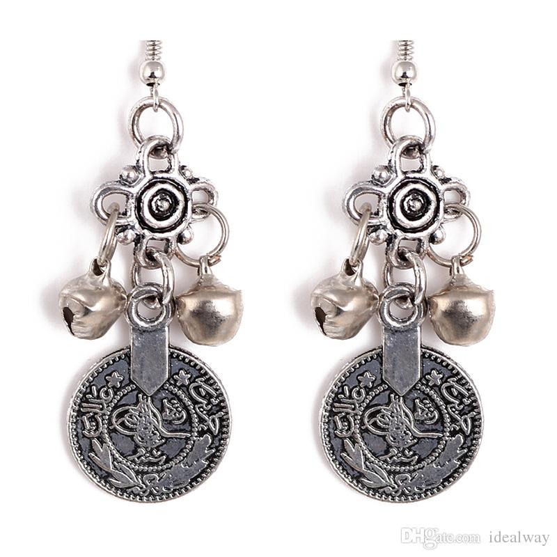 الفضة التركية بيل عملة أقراط تصميم الأزهار بوهو الغجر بيتشي العرقية مجوهرات مهرجان القبلية