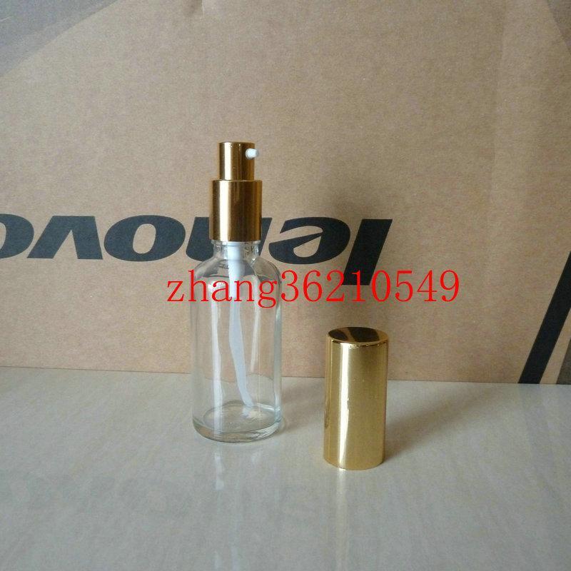 50ml 투명 / 투명 유리 로션 병 알루미늄 반짝 이는 골드 pump.for 로션과 에센셜 오일. 로션 크림 용기