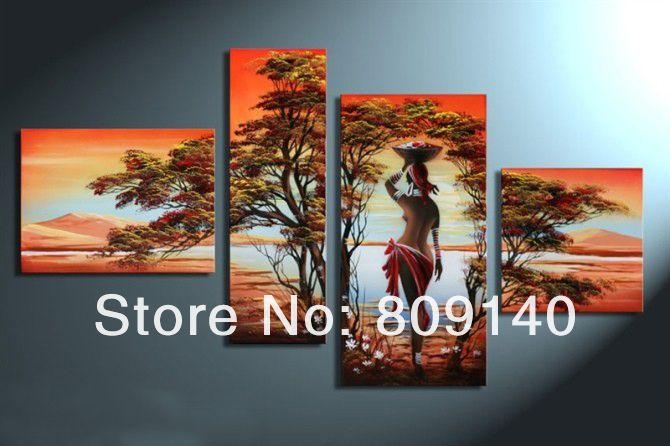 Afrikaanse landschap abstracte naakt dame op het meer olieverfschilderij handgemaakte moderne thuiskantoor hotel muur kunst decor decoratie kunstwerk gratis schip