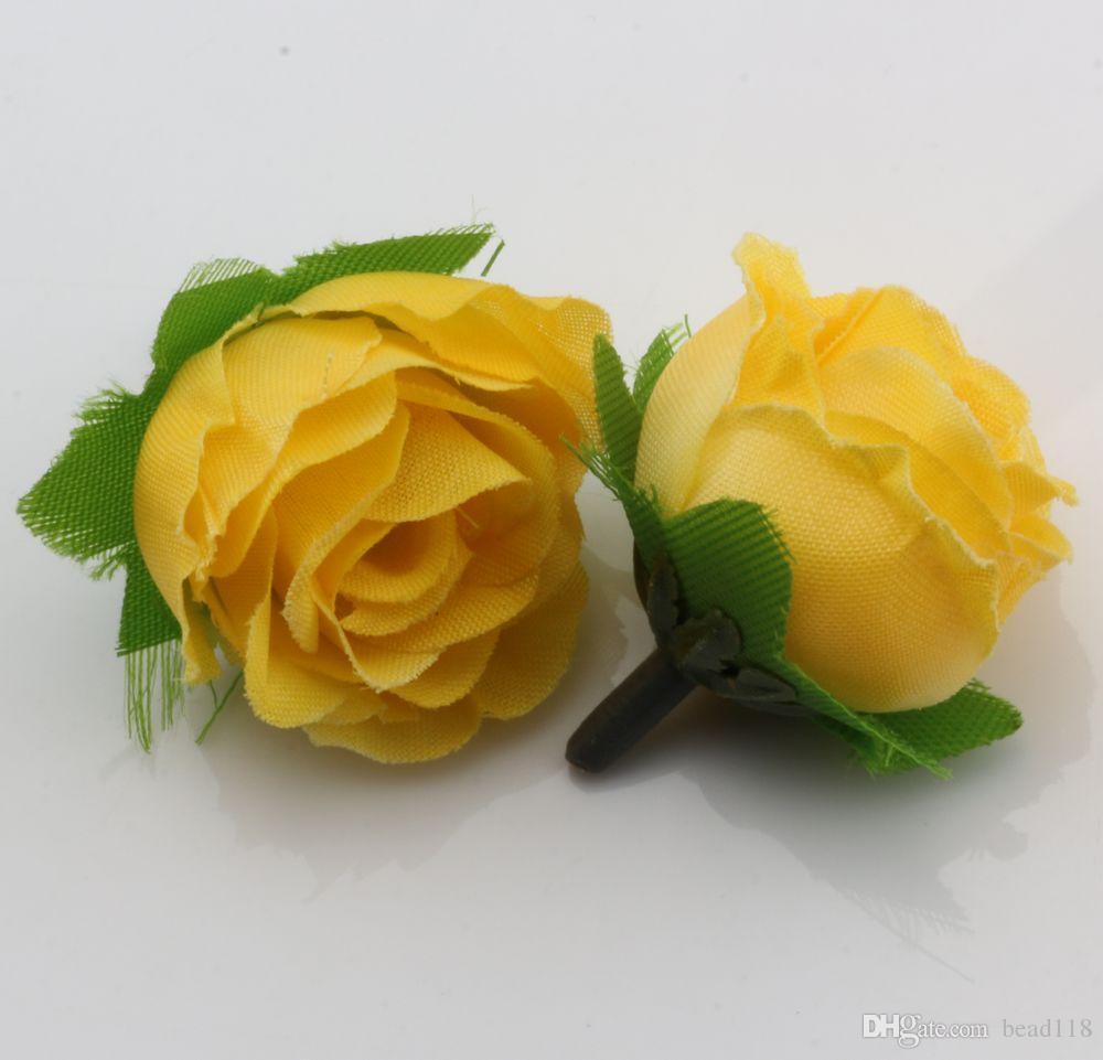 Vendita calda! 400Pcs Yellow Tea Rose Capolino Fiori Artificiali Fiore di cerimonia nuziale 3 centimetri