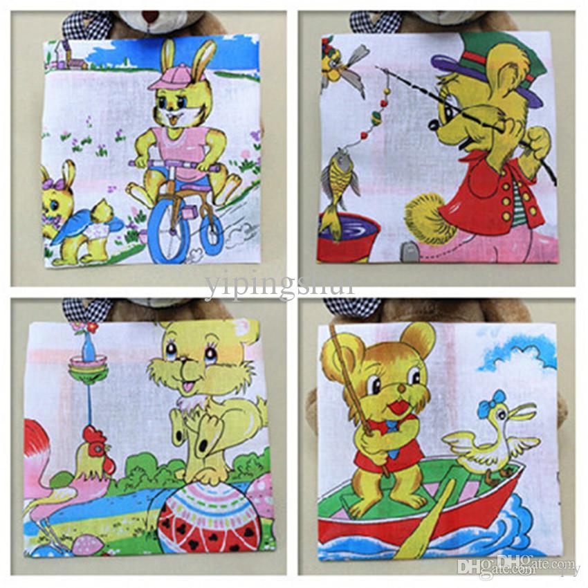Pañuelos de dibujos animados al por mayor-9pcs niños 100% algodón bolsillo cuadrado pañuelo para niños 25 * 25cm pañuelos vintage