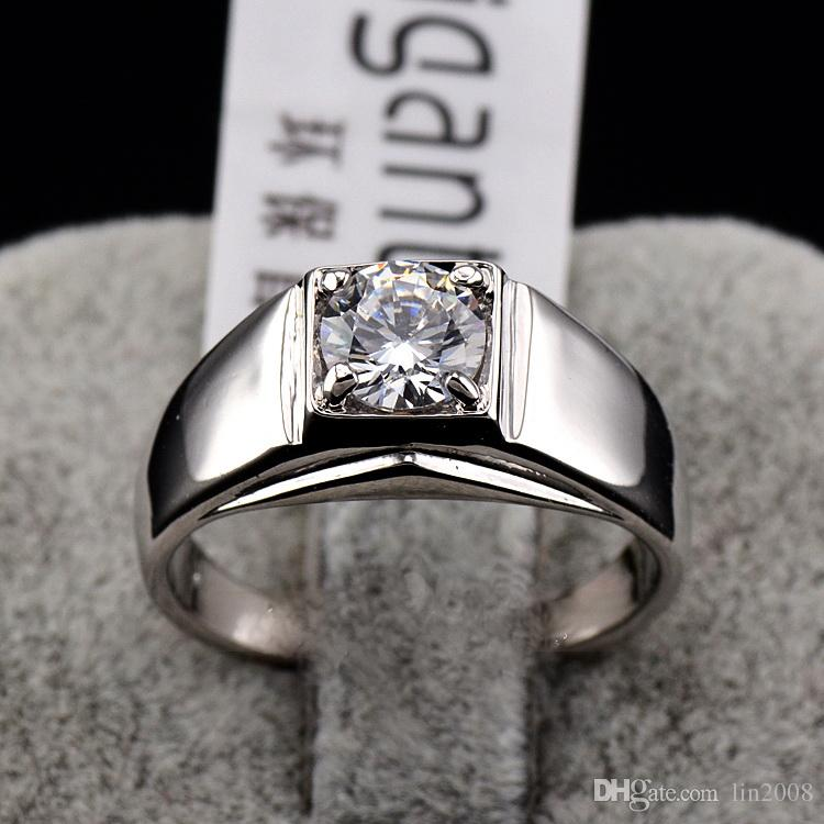 6pcs men 18k gold plated Ring one Swarovski crystal finger rings ,wedding gold filled CZ diamond jewelry fashion 2016