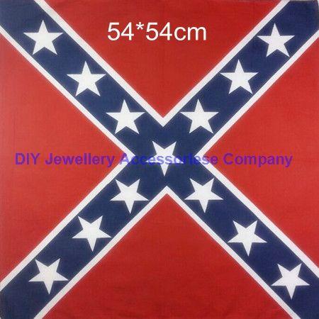 DHL free 100pcs 54*54cm 100% cotton confederate rebel flag hiphop bandanas civil war battle bandana headwrap civil war flag outdoor kerchief