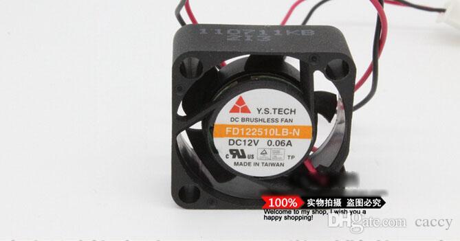 Y.S TECH FD122510LB-N 25*25*10MM 12VDC 0.06A Dual Balls Bearing 7000rpm 2CFM 18dbA 2 Wires 2 Pins Connector Cooling Fan