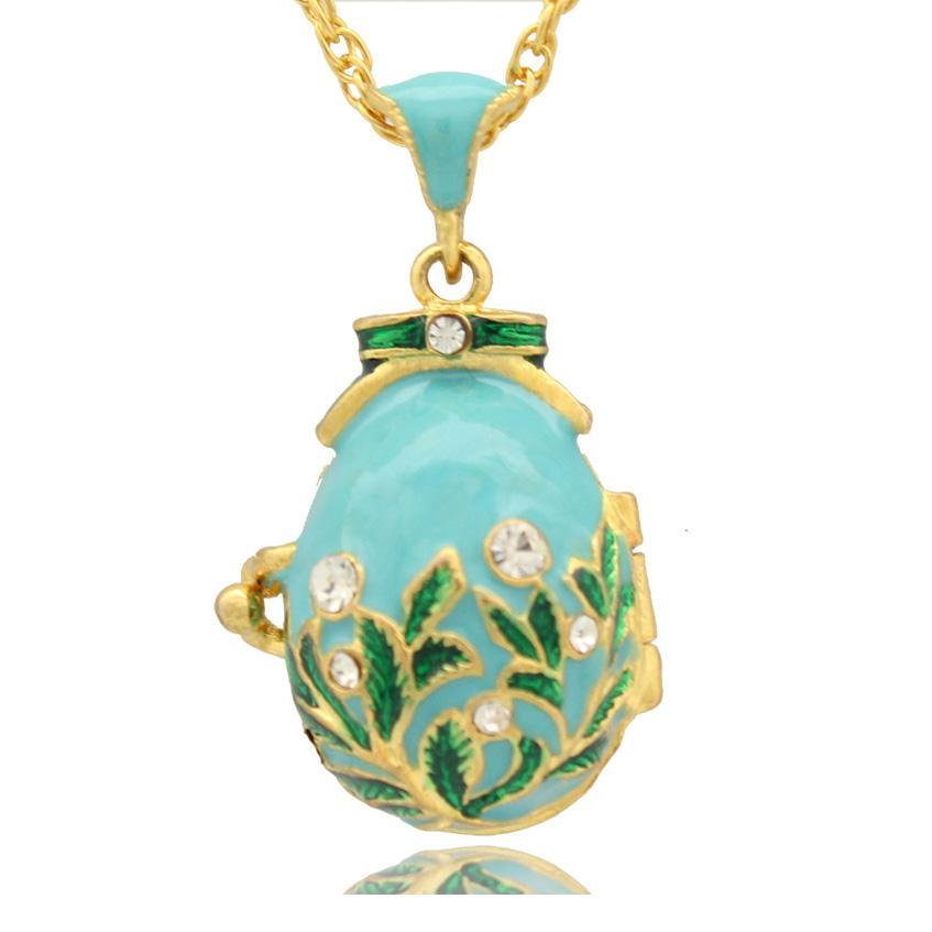 Рука цвет эмалированный Кристалл Фаберже яйцо Русский Пасхальный цветок яйцо кулон ожерелье для праздников цепи включены