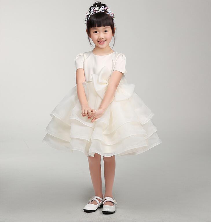 Robe de soirée bijou cou longue fleur filles robes formelles organza manches courtes genou longueur une ligne de fermeture éclair jolie robe de fête d'anniversaire