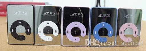 Mini Clip Mirror MP3 Digital Music Player with Micro SD TF Card Slot C Shape Sports MP3 Free Shipping