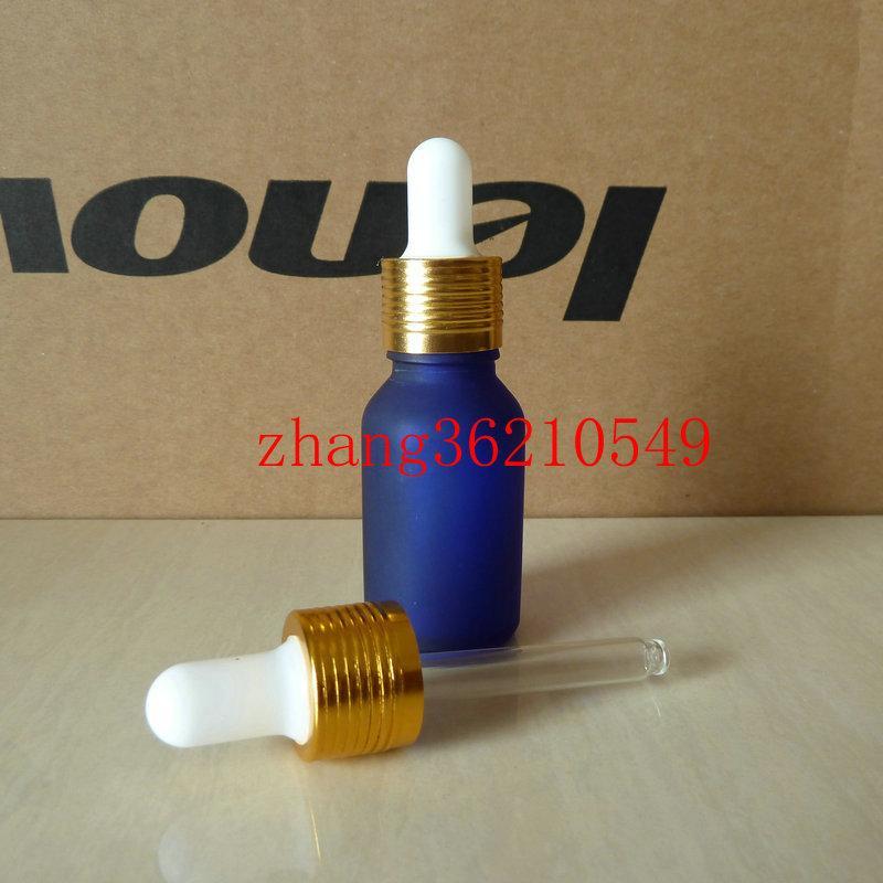15ml 블루 서리로 덥은 유리 에센셜 오일 병 알루미늄 반짝이 골드 dropper cap. 오일 바이알, 에센셜 오일 용기
