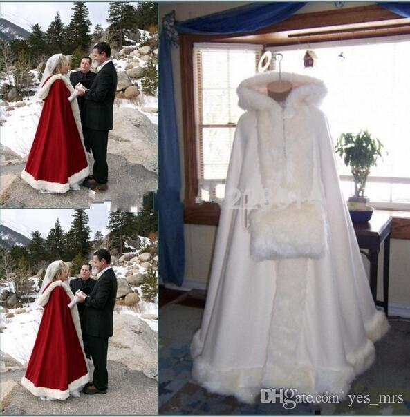 Real Image Hooded Bridal Cape Ivory White Dark Red Long Wedding Cloaks Faux Fur For Winter Wedding Bridal Wraps Bridal Cloak Plus Size