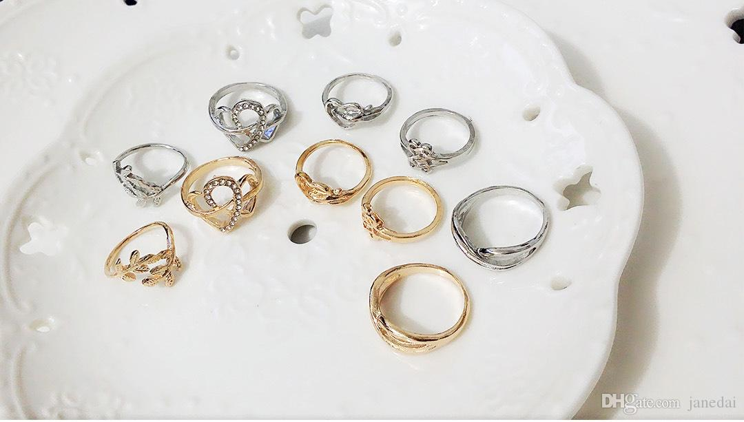 2016 new style Jewelry Ring Five Suit Hollow out Rings Heart ...
