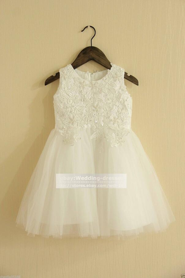 Hign-end Lace Flower Girl Dress-batismo batismo menina vestidos sem mangas