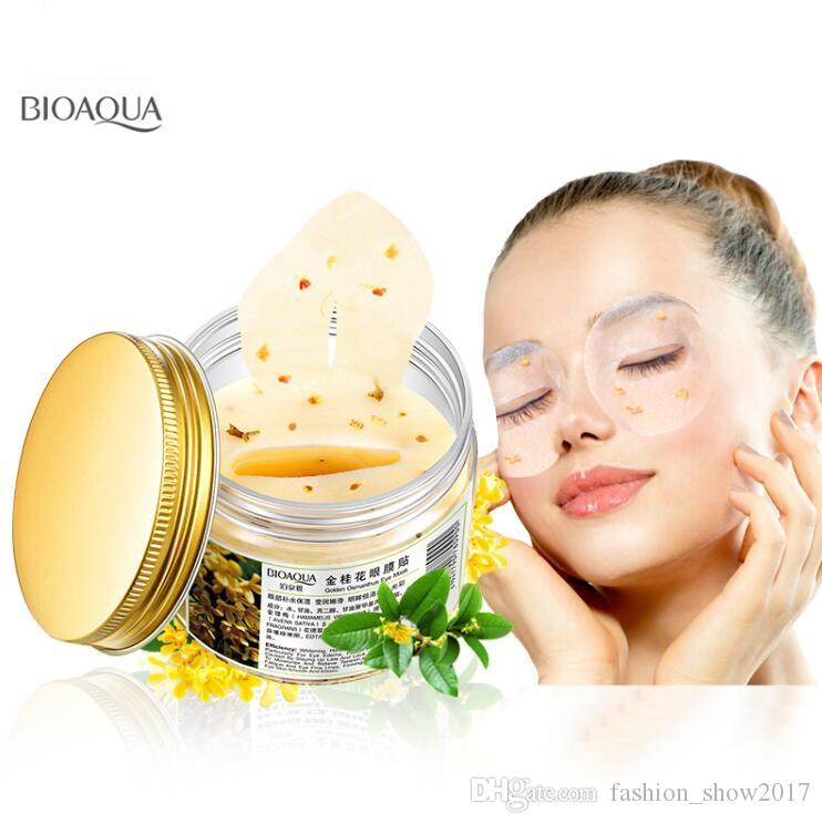 BIOAQUA Gold Osmanthus Maschera per gli occhi Gel al collagene Whey Protein Sleep Patch Rimuovi Maschera per gli occhi idratante Cerchio scuro