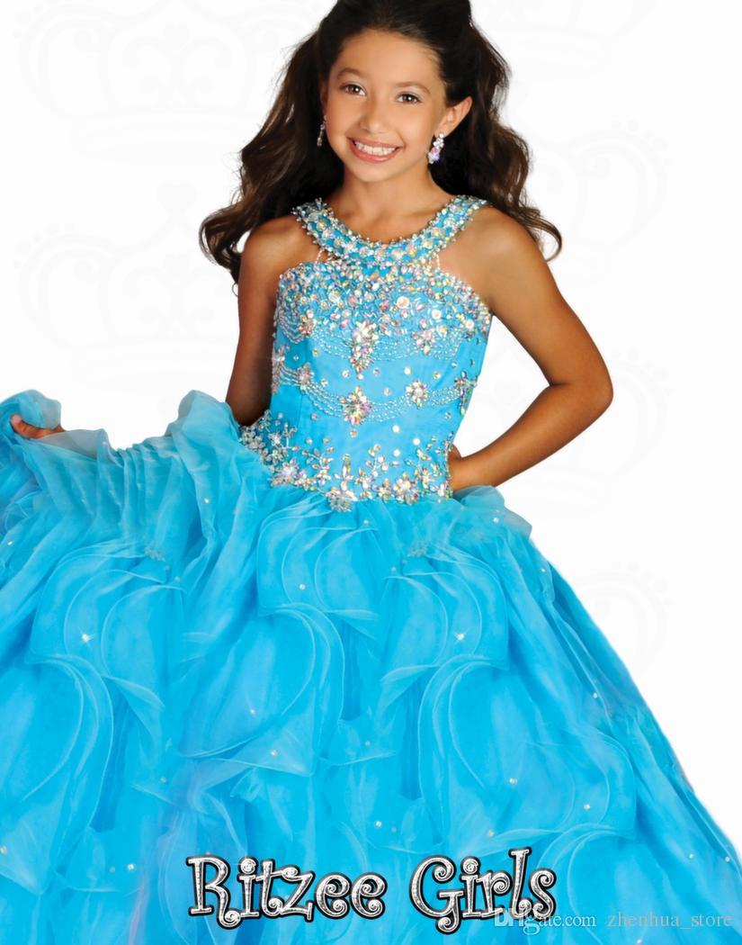 2015 Ritzee Girls 6677 Koraliki Klejnot Dziewczyny Korownice Suknie Mała Dziewczynka Balowa Suknia Duże Dzieci Pełna długość Dziewczyny Suknie Party