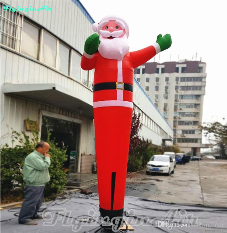 4m Christmas Sky Dancer Welcoming Inflatable Santa Dancer for Promotion