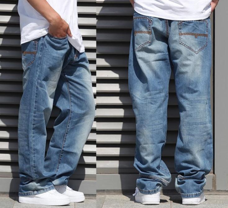 جديد الموضة الشعبية سكيت السراويل الفضفاضة الجينز الرجال الهيب هوب الترفيه السراويل السراويل كبيرة الحجم 30-46 -077 #
