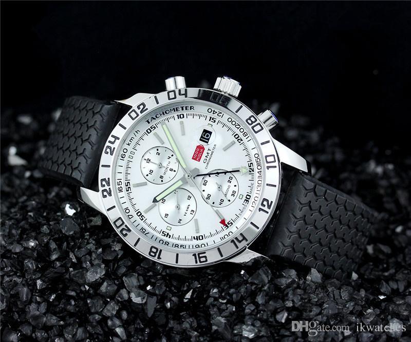 뜨거운 판매 스포츠 남성은 남성 543에 대한 남성 시계 최고 품질 기계식 자동 손목 시계 balck의 고무 시계 시계