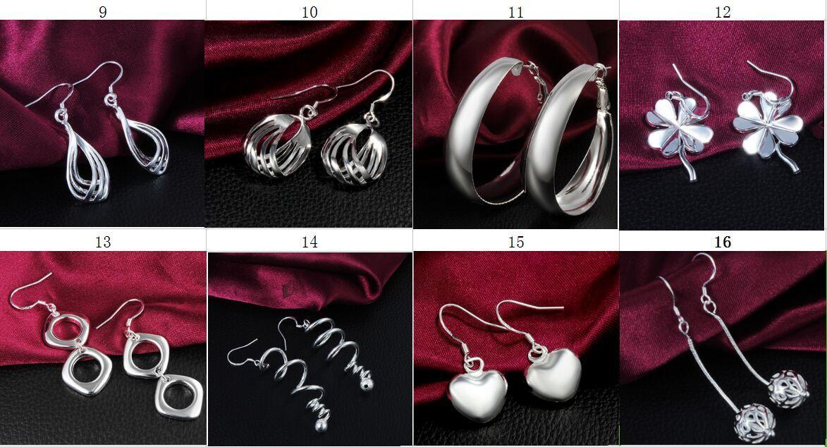 Mode (sieraden fabrikant) gemengd 50 stuks veel oorbellen 925 sterling zilveren sieraden fabriek prijs mode glans oorbellen 1767