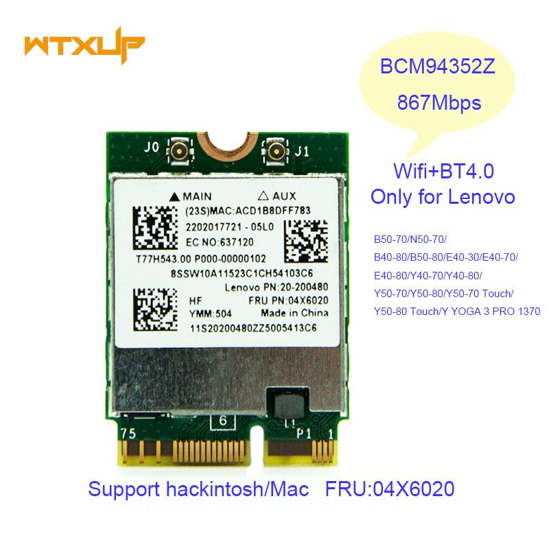 Wholesale Broadcom BCM94352Z WLAN Bluetooth 4 0 Network Card 867Mbps  FRU06X6020 Wifi Adapter For Lenovo Laptop Y50 Y40 Y70 B50 YOGA 3 Buy  Wireless