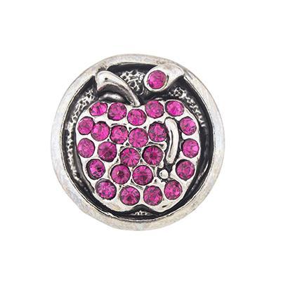 NSB2455 Venta Caliente Botones a Presión Joyería 18mm Botones Moda Encantos DIY Cristal Plateado Oro Antiguo Apple Diseño Snaps botones