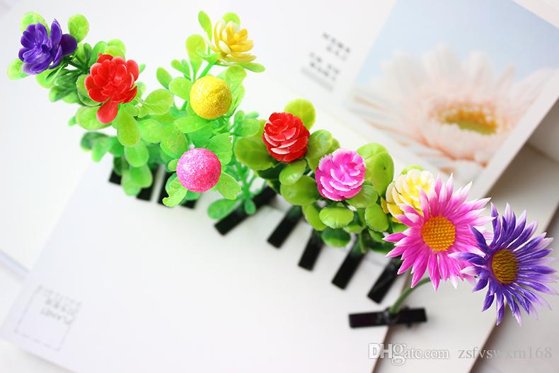بيع منغ رئيس البالغين الأطفال مضحك قطعة أثرية نبات الزهور العشب اكسسوارات الشعر دبوس أعلى مجلد